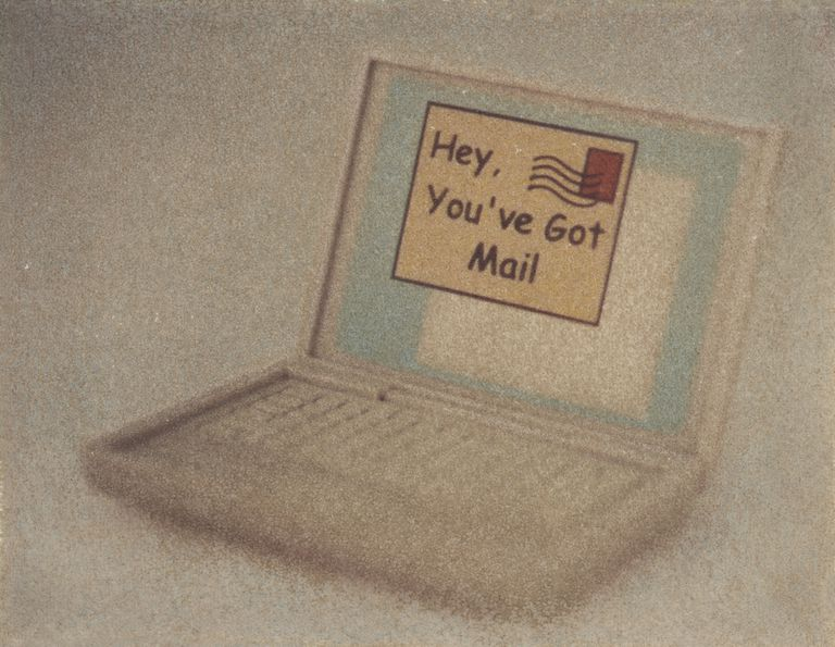 Computer with a caption that says