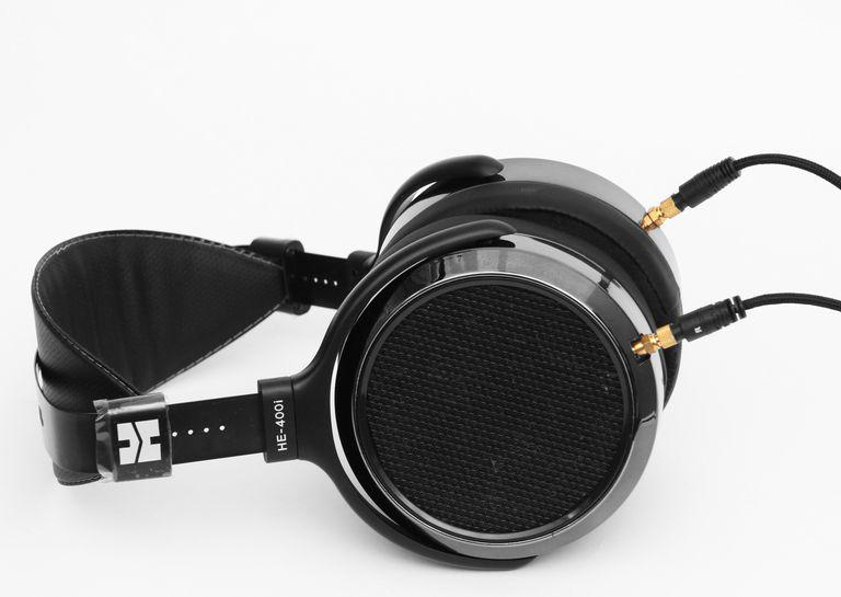 The HiFiMan HE-400i planar magnetic headphones lying down flat