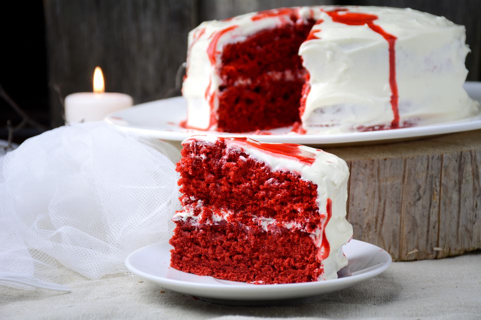 red velvet cake with old-fashioned frosting