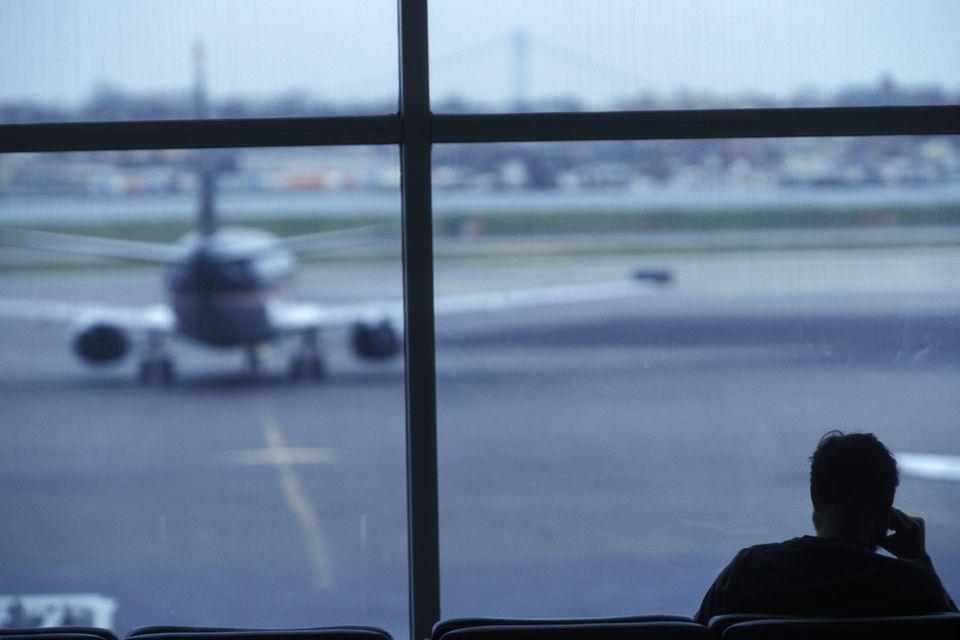Traveler Waiting at La Guardia Airport