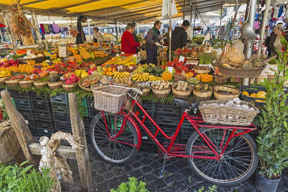 Rome, Italy. Fruit and vegetable stall at the daily market in the Campo dei Fiori.
