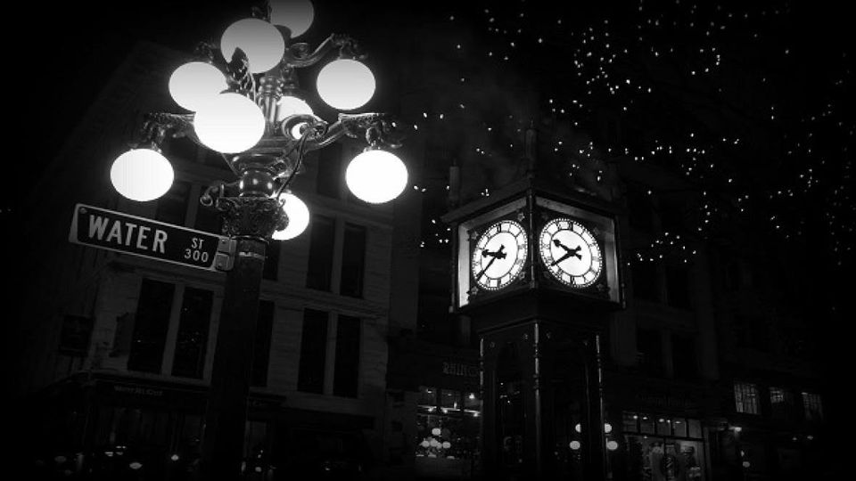 Ghostly Vancouver Tours cover image of nighttime in Gastown, Vancouver