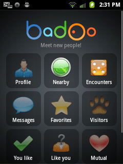 Badoo for Android home