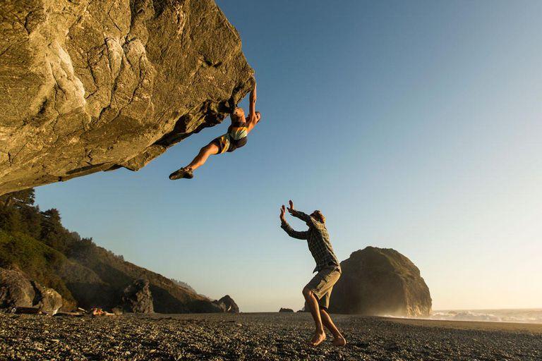 Bouldering near the ocean.