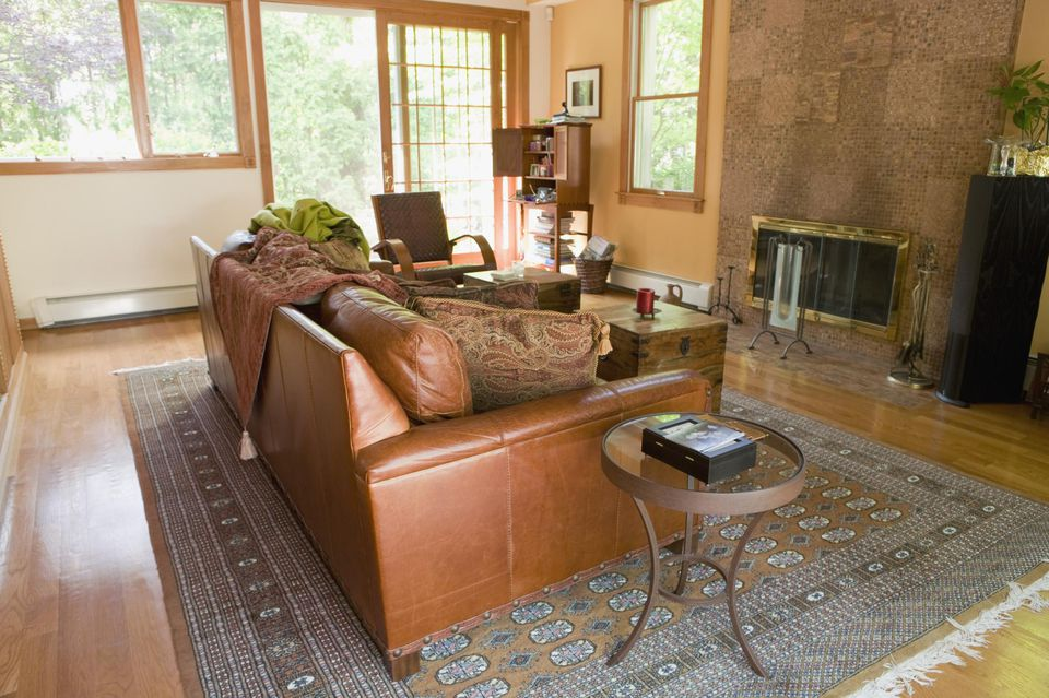 Living room with leather sofa