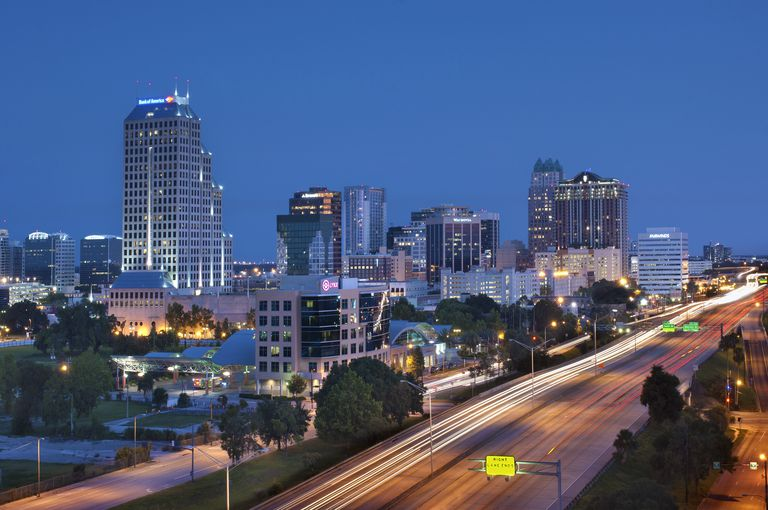 Orlando, Downtown skyline and Interstate 4