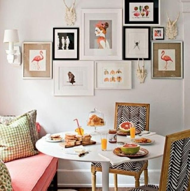 Dining Room With Eclectic Gallery Wall