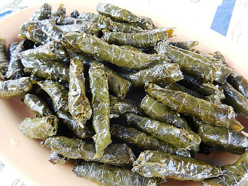 Vine leaves stuffed with rice, pine nuts and currants