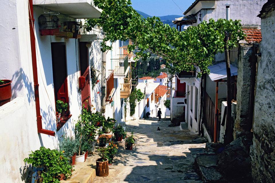 Greece, specifically a street in Skopelos
