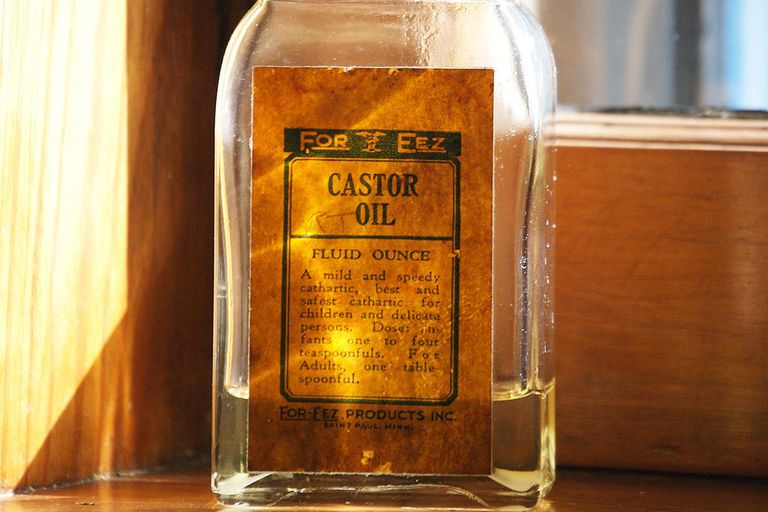 A bottle of castor oil sitting on the window sill of the bathroom in the Keeper's house at Split Rock Lighthouse.
