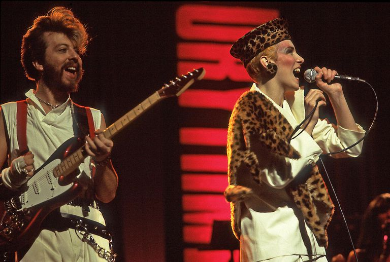 Dave Stewart (left) and Annie Lennox of Eurthymics perform live in Chicago in 1984.