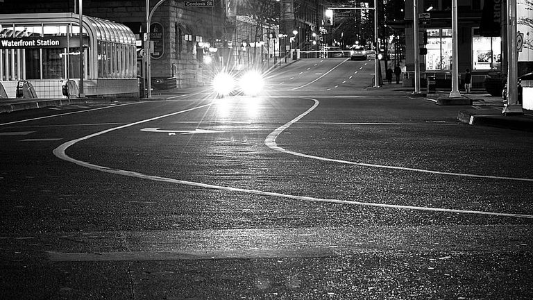 headlights going into a turn