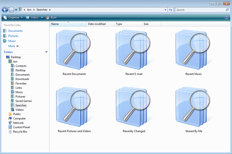 Screenshot of SEARCH-MS files in Windows Vista