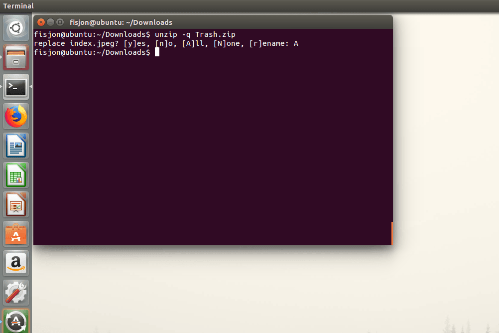 Screenshot of the -q switch used with the unzip command in Ubuntu