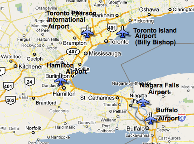 Airports In And Near Toronto - Map of major airports in us