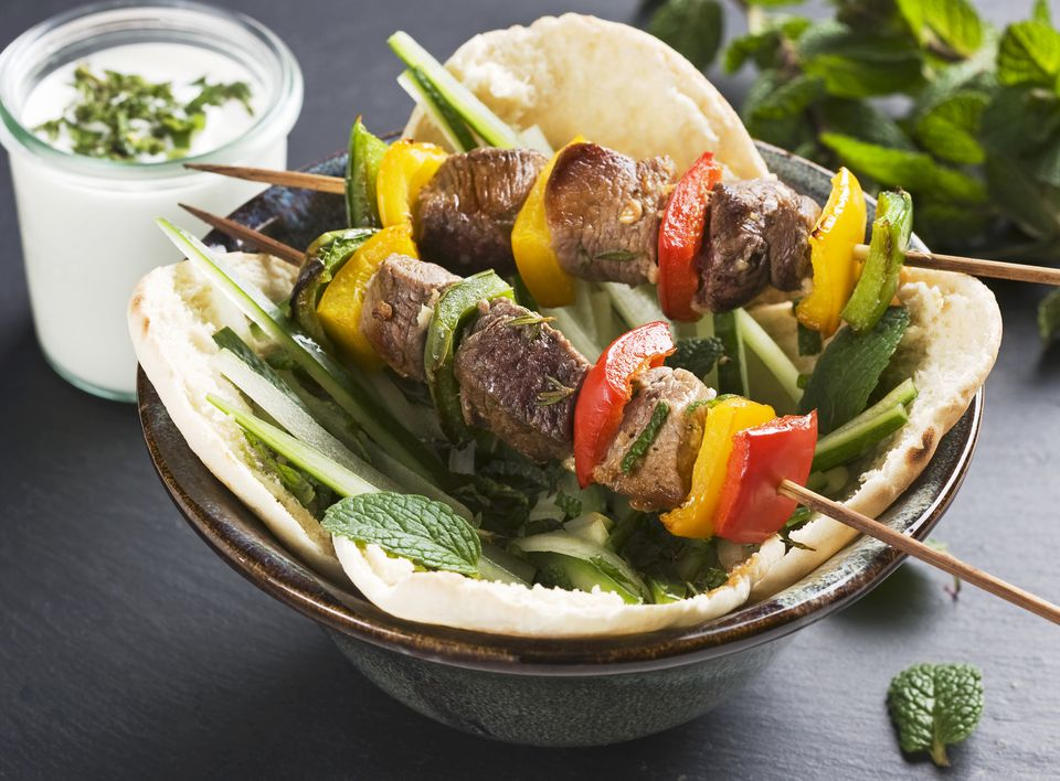 Lamb kebabs with pepper in pita bread