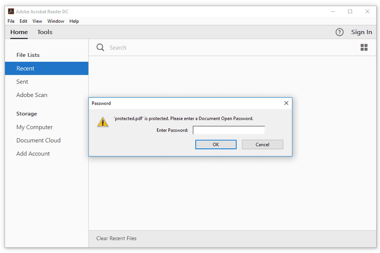 Screenshot of the Document Open Password prompt in Adobe Reader