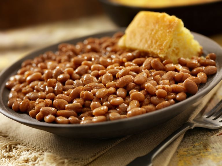 Crock of baked beans.
