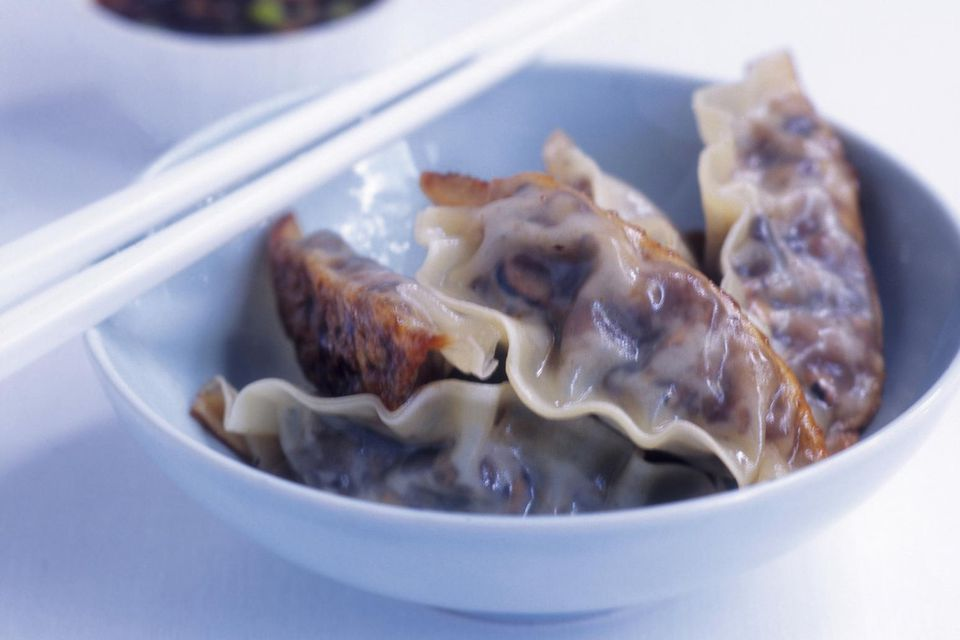 Chinese dumplings (Jiaozi) in bowl