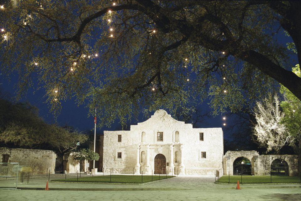 The historic Alamo at night.