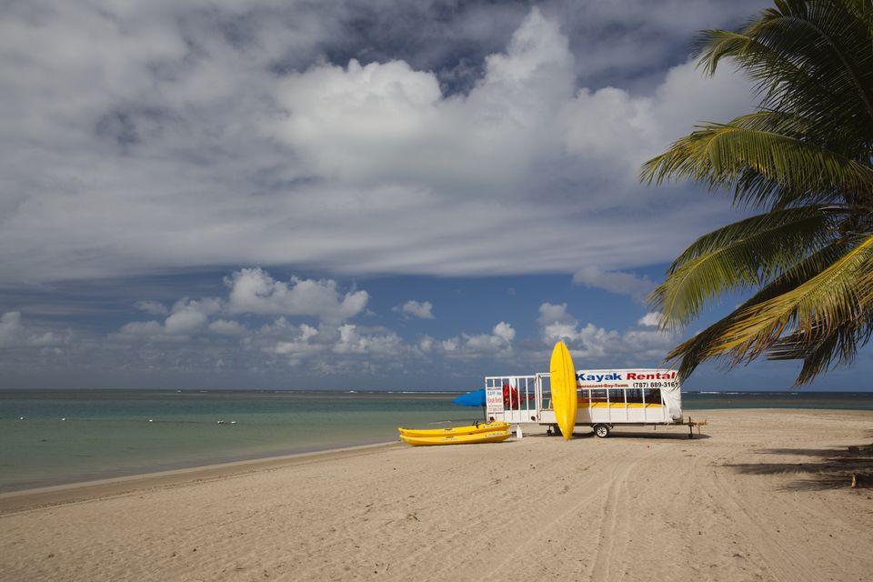 Kayak rentals, Playa Luquillo Beach, Luquillo, East Coast, Puerto Rico, December 2009