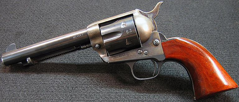 Photo of left side of Traditions 45 Colt single action revolver.
