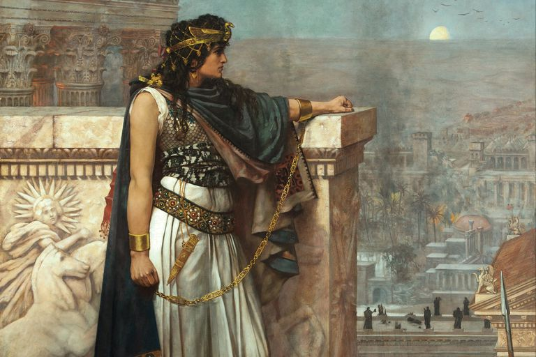 Zenobia's Last Look on Palmyra. 1888 Painting.