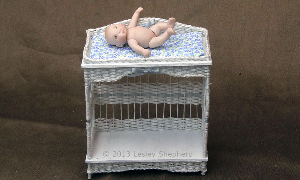 Dollhouse miniature wicker change table made from instructions on Miniatures.about.com