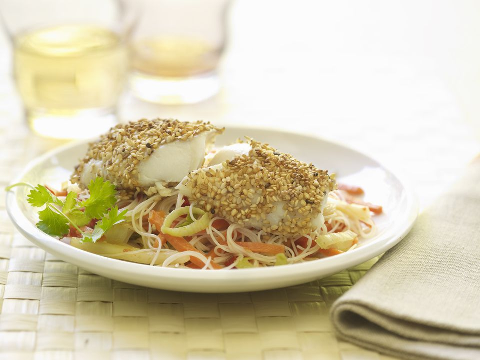 Pollock fish with a sesame crust and vermicelli noodles