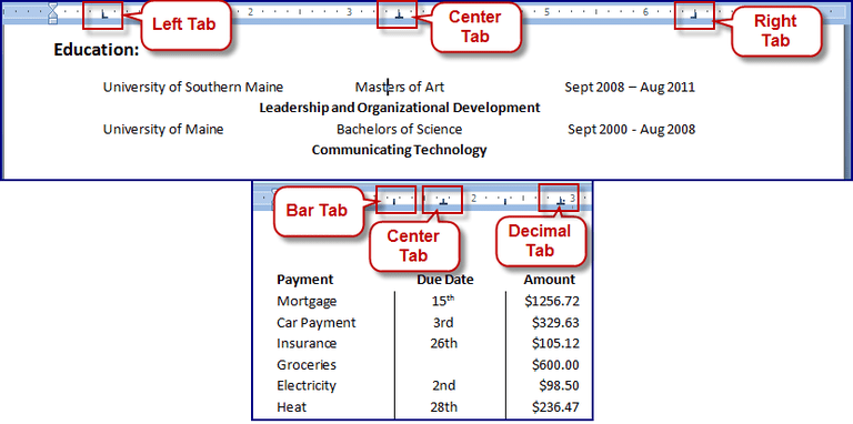 how to change tabs in word