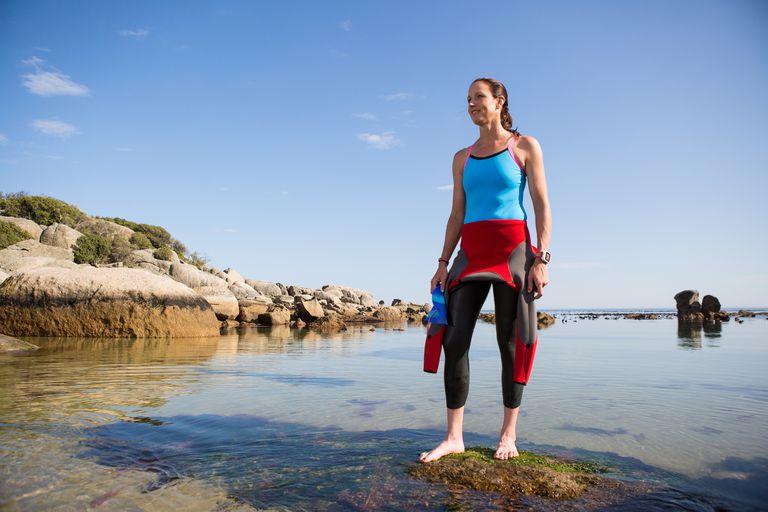 Woman preparing for an open swim