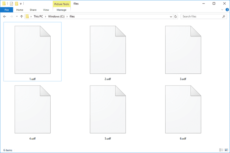 Screenshot of UDF files in Windows 10
