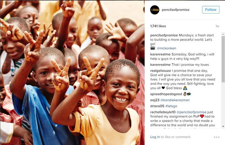 Pencils of Promise Instagram example.