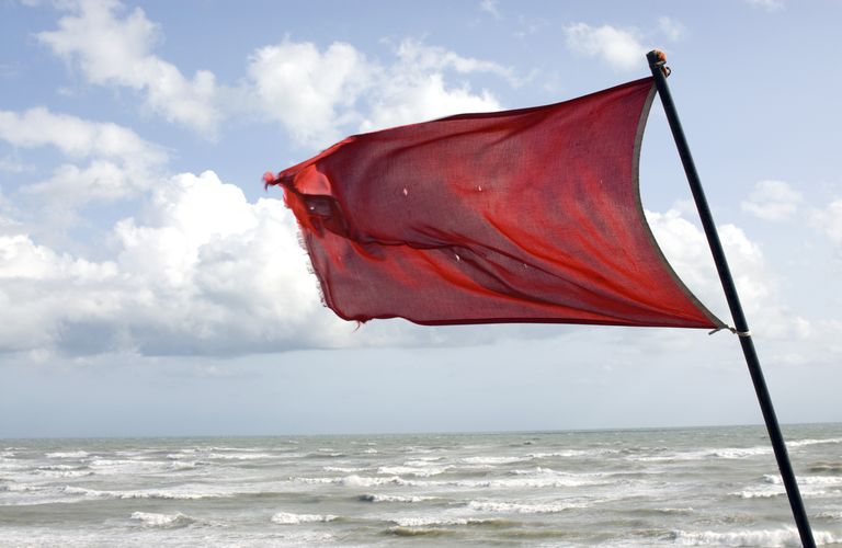 Red Warning flag on windy beach