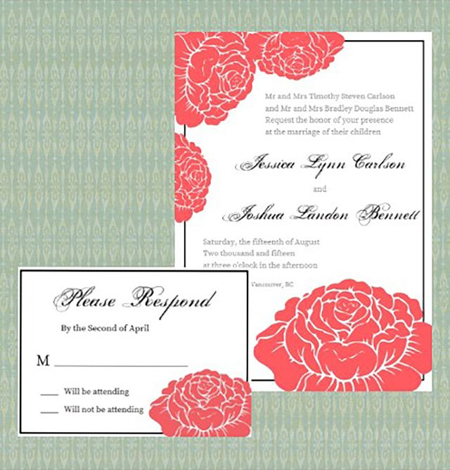 garden rose printable wedding invitation - Printable Wedding Invitation
