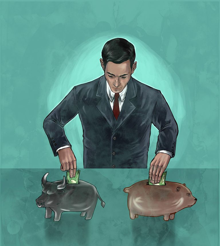 Illustrative image of businessman investing money into bear and bull markets