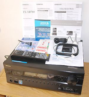 Onkyo TX-NR708 3D Compatible Network Home Theater Receiver - Front View with Accessories
