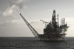 Close-up of an oil platform at sea