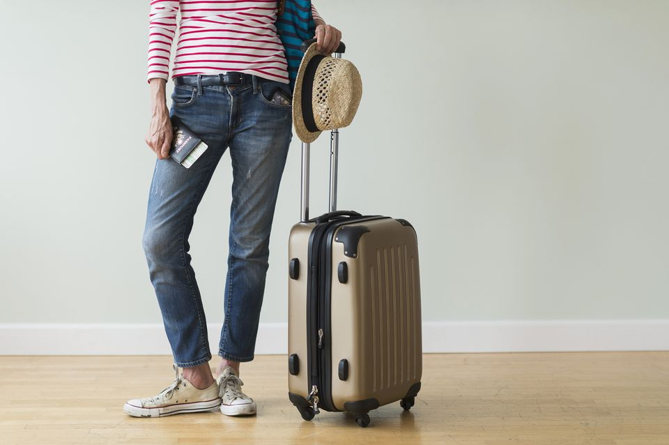 Woman with carry-on luggage