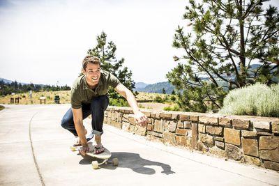 A man skateboarding
