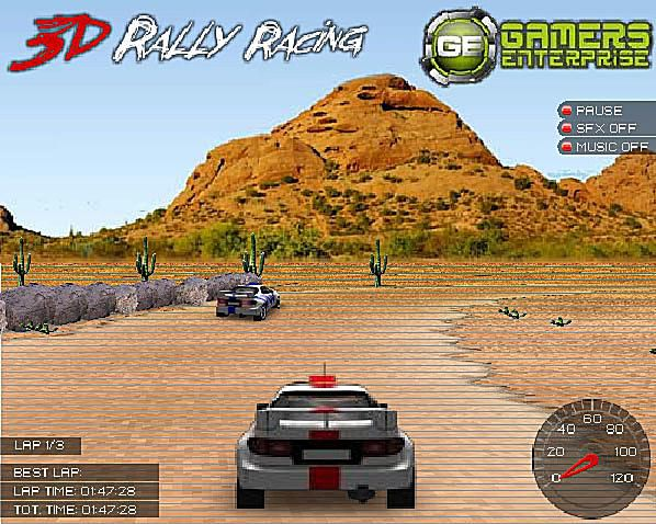 Screenshot of the 3D Rally Racing free online car game