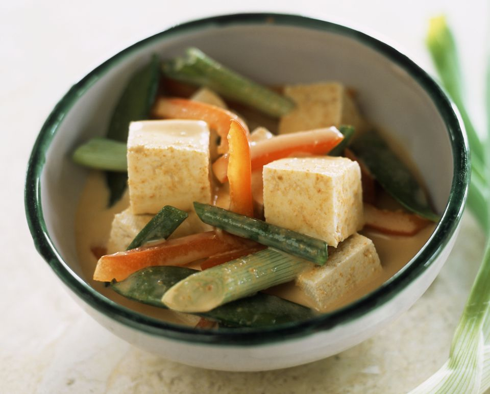 Vegetarian red Thai curry with tofu and vegetables