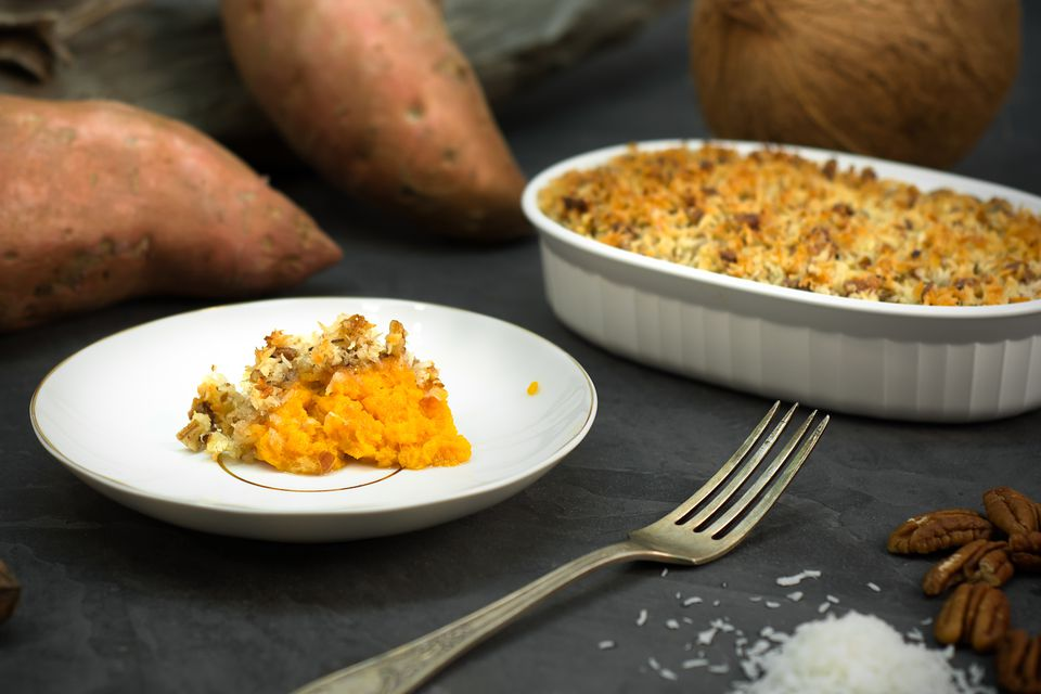 sweet potato casserole with coconut pecan topping