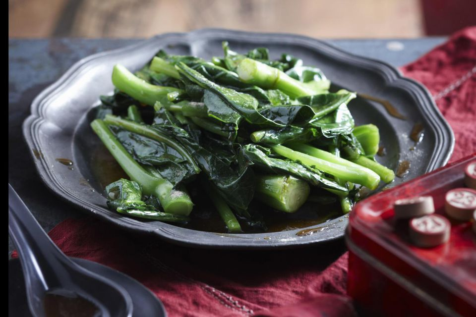 Plate of broccoli in oyster sauce