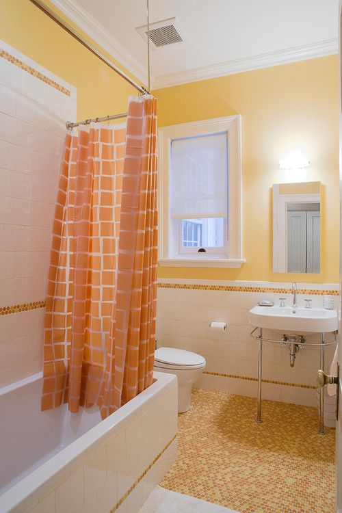 Orange And Yellow Traditional Bathroom