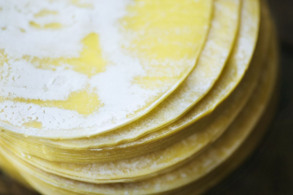Close up of dumpling wrappers in a stack