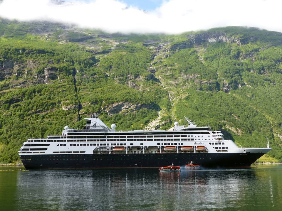 ms Maasdam of Holland America Line in Geiranger, Norway