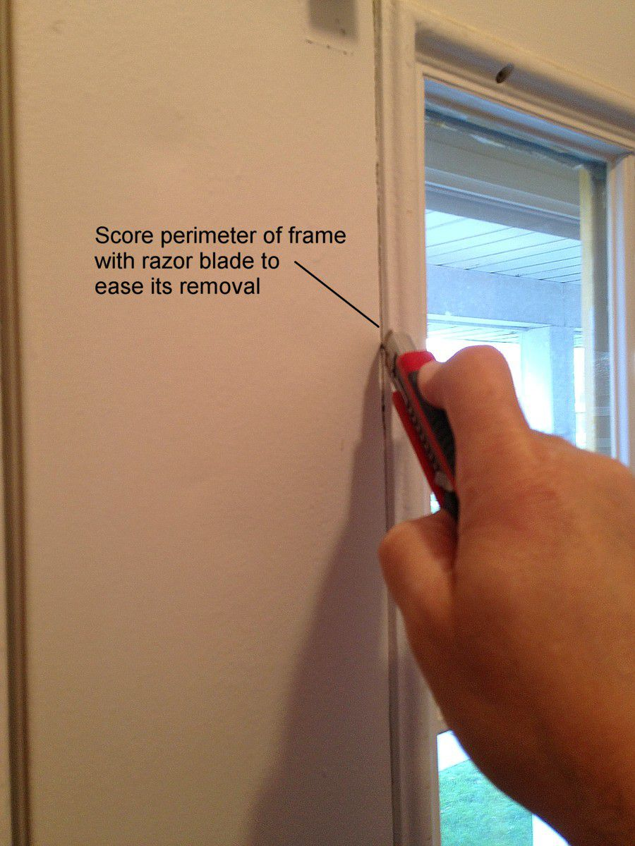Replace a window with a door - Score Around Perimeter Of Door Window Frame Surround