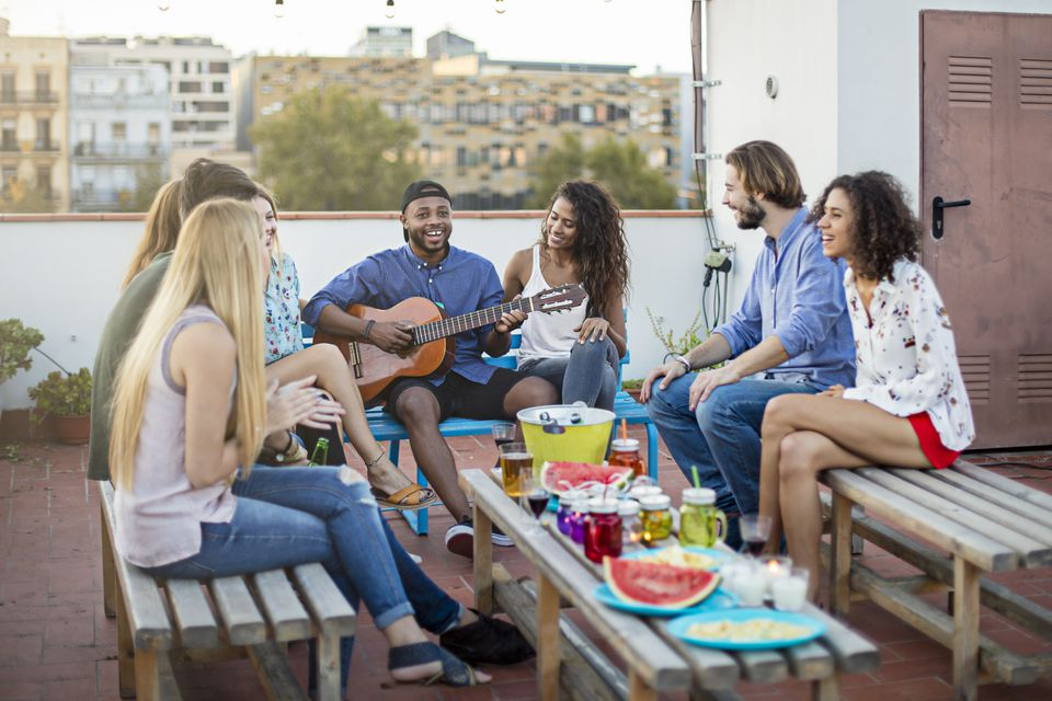 friends hang out on terrace
