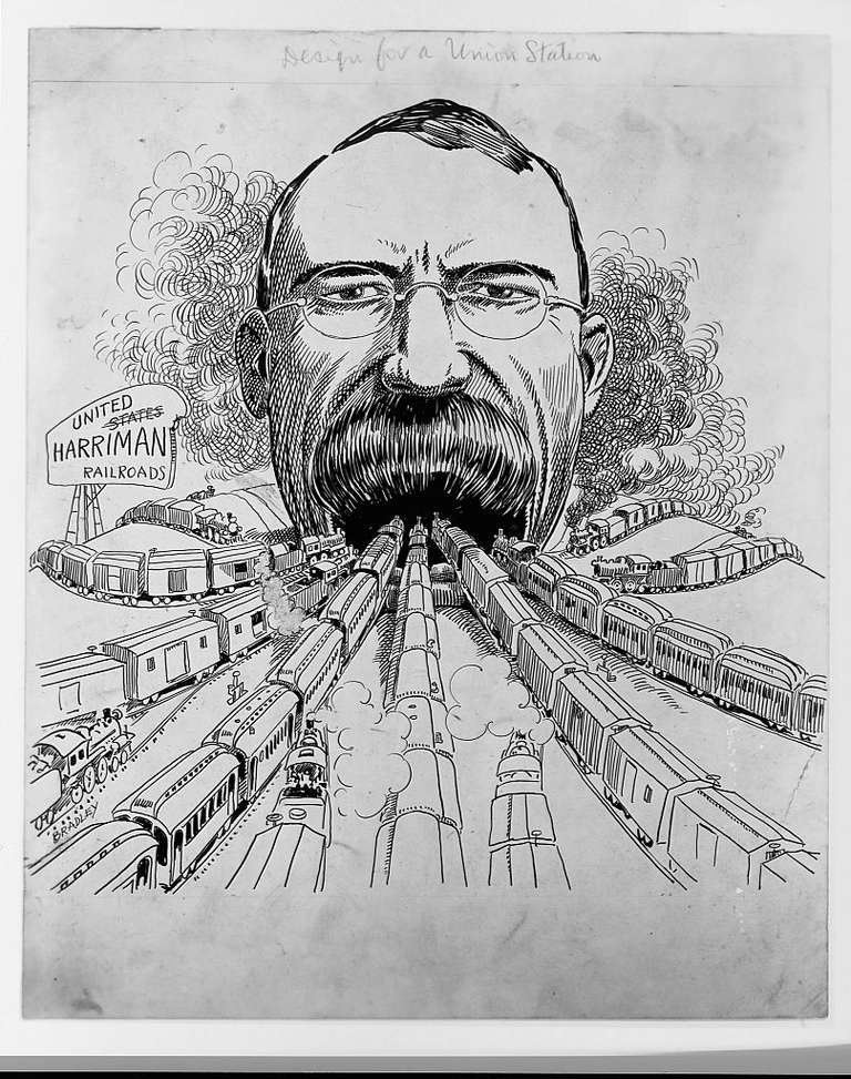 Political Cartoon of a Robber Baron, Edward H. Harriman, with the railroads of America all heading toward his mouth. The caption reads 'Design for a Union Station.'